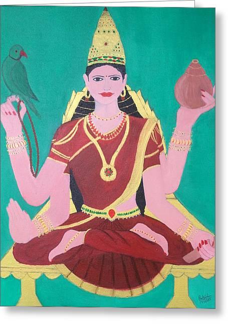 Hindu Goddess Paintings Greeting Cards - Ma Sharada Greeting Card by Pratyasha Nithin