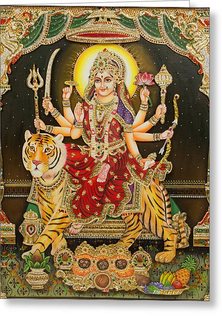 Tanjore Greeting Cards - Maa Durga Greeting Card by Vijay krishna Maram
