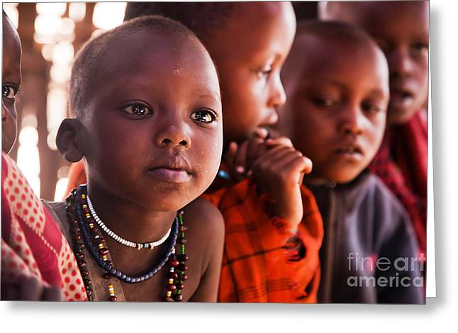 Tribal Decoration Greeting Cards - Maasai children in school in Tanzania Greeting Card by Michal Bednarek