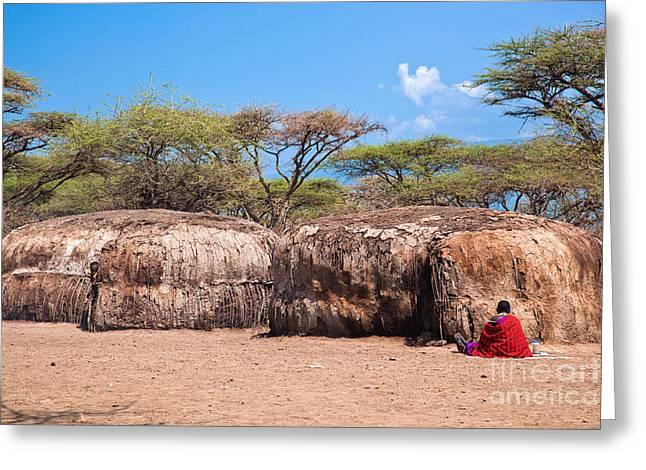 Apparel Greeting Cards - Maasai huts in their village in Tanzania Greeting Card by Michal Bednarek