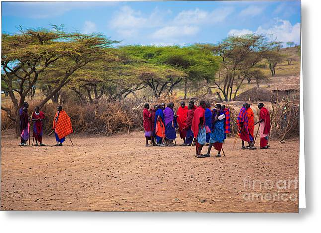 Apparel Greeting Cards - Maasai people and their village in Tanzania Greeting Card by Michal Bednarek