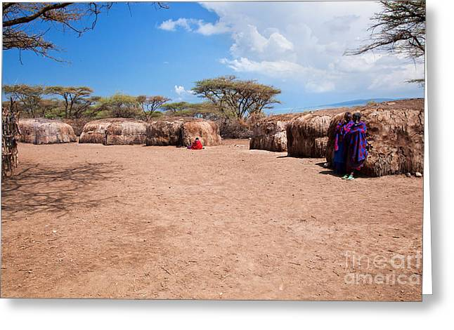 Apparel Greeting Cards - Maasai people in their village in Tanzania Greeting Card by Michal Bednarek