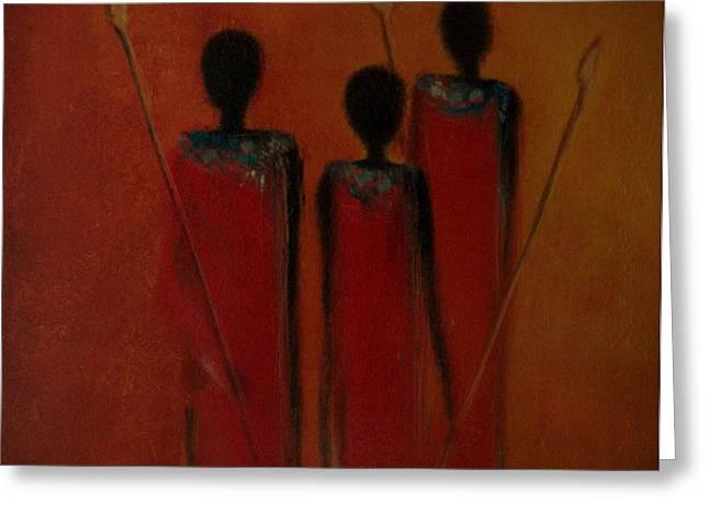 Paint Photograph Greeting Cards - Maasai Trio  Greeting Card by David Dehner