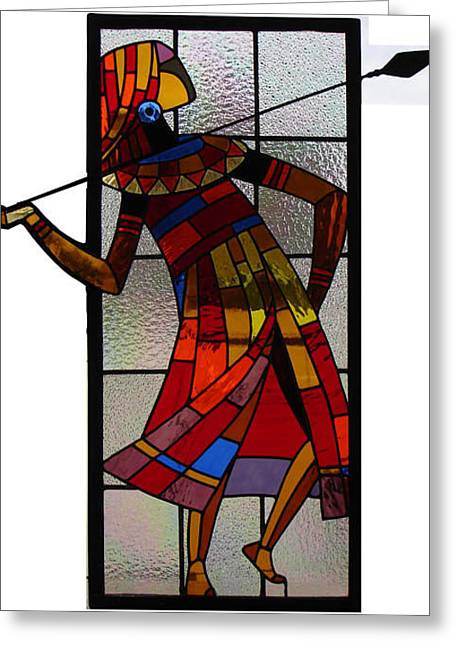With Glass Art Greeting Cards - Maasai with spear Greeting Card by Dinesh Revankar