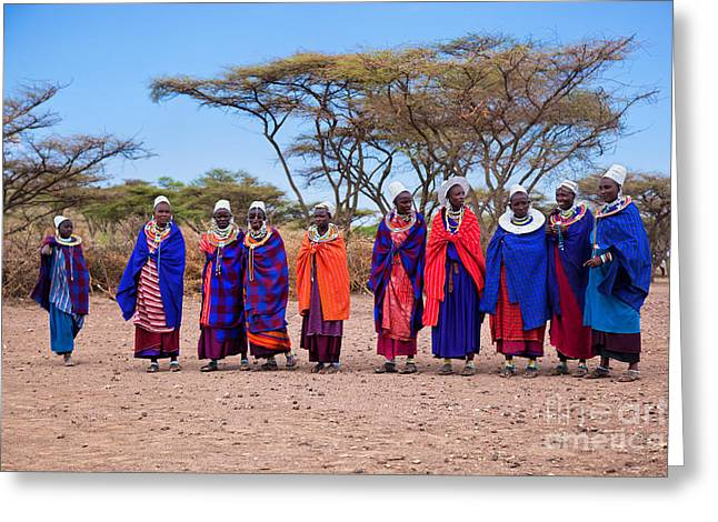Maasai Women In Their Village In Tanzania Greeting Card by Michal Bednarek