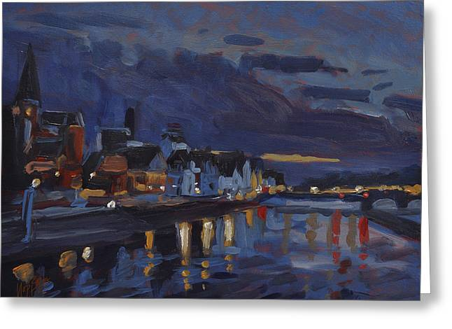 Limburg Paintings Greeting Cards - Maastricht in sunset sky Greeting Card by Nop Briex