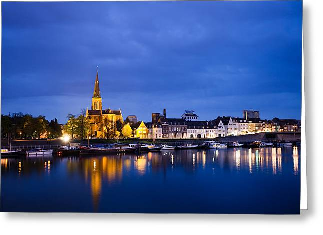 Maastricht Sint-martinuskerk And Maas River Greeting Card by Marc Garrido