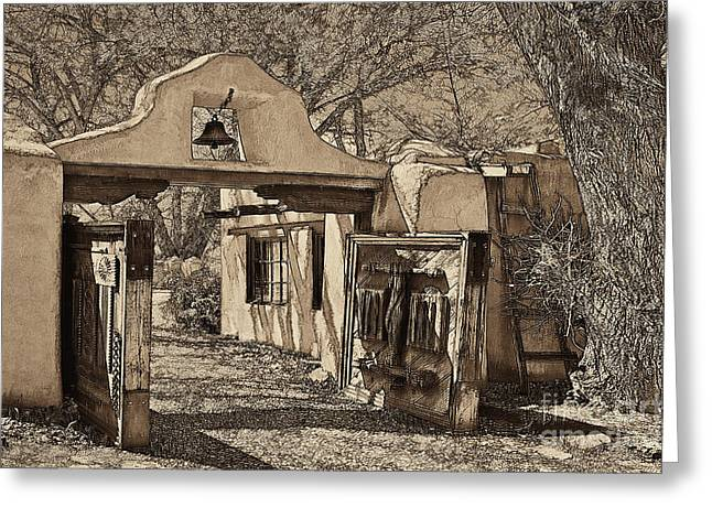 Taos Greeting Cards - Mabels gate - a different view Greeting Card by Charles Muhle
