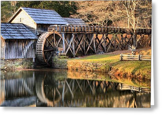Grist Mill Greeting Cards - Mabry Grist Mill Fall Panorama Greeting Card by Adam Jewell