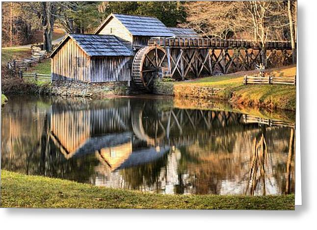 Grist Mill Greeting Cards - Mabry Grist Mill Panorama Greeting Card by Adam Jewell