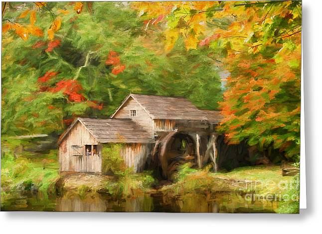 Reminiscent Greeting Cards - Mabry Mill Autumn Greeting Card by Darren Fisher
