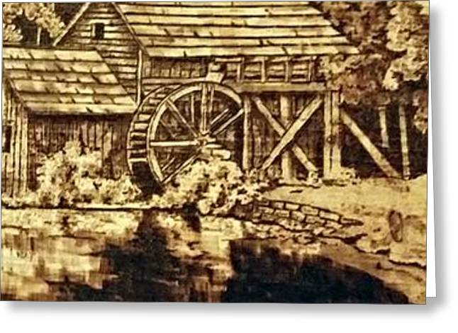 Mills Pyrography Greeting Cards - Mabry Mill Greeting Card by Derek  Neil