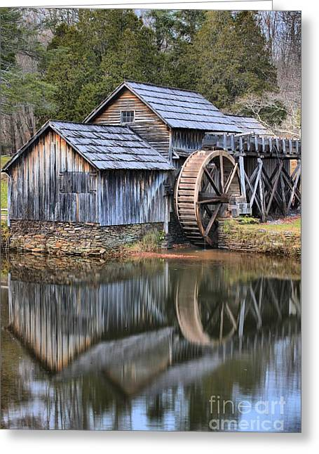 Grist Mill Greeting Cards - Mabry Mill Dusk Portrait Greeting Card by Adam Jewell