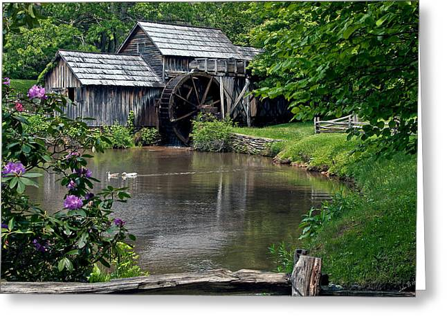 Grand Memories Greeting Cards - Mabry Mill in May Greeting Card by John Haldane