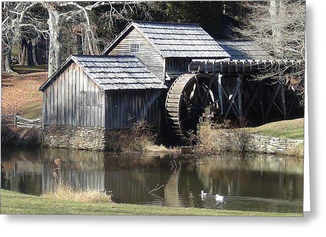 Grist Mill Greeting Cards - Mabry Mill in Winter Greeting Card by George Stephens