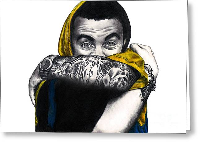 Hoodies Drawings Greeting Cards - Mac Miller Greeting Card by Michael Durocher