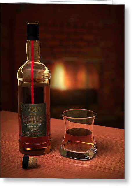 Photorealistic Greeting Cards - Macallan 1973 Greeting Card by Adam Romanowicz