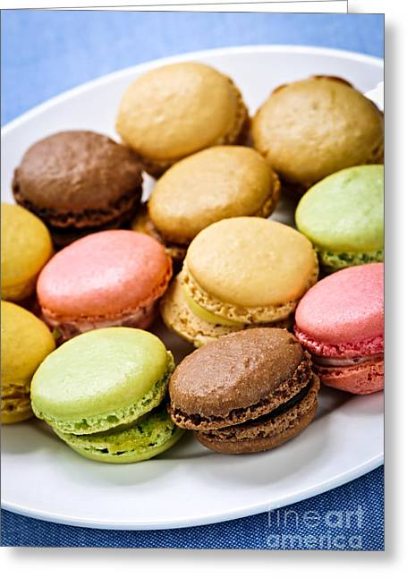Junk Greeting Cards - Macaroon cookies Greeting Card by Elena Elisseeva
