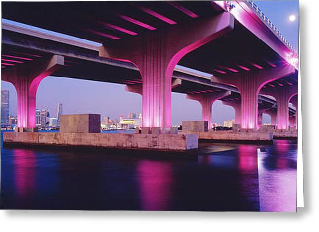 Biscayne Bay Greeting Cards - Macarthur Causeway Biscayne Bay Miami Greeting Card by Panoramic Images