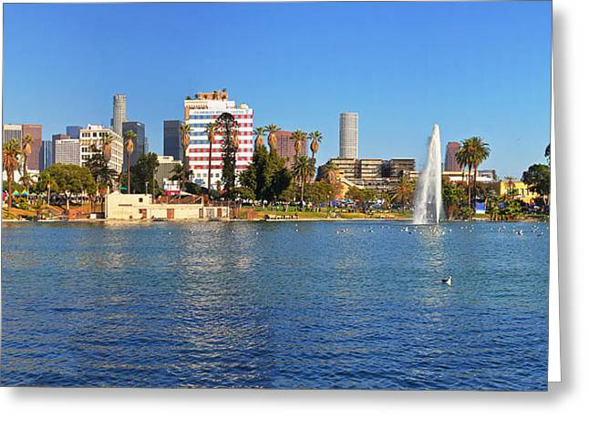 Usa Pyrography Greeting Cards - MacArthur Park and Downtown L.A. Greeting Card by Steffen Schumann
