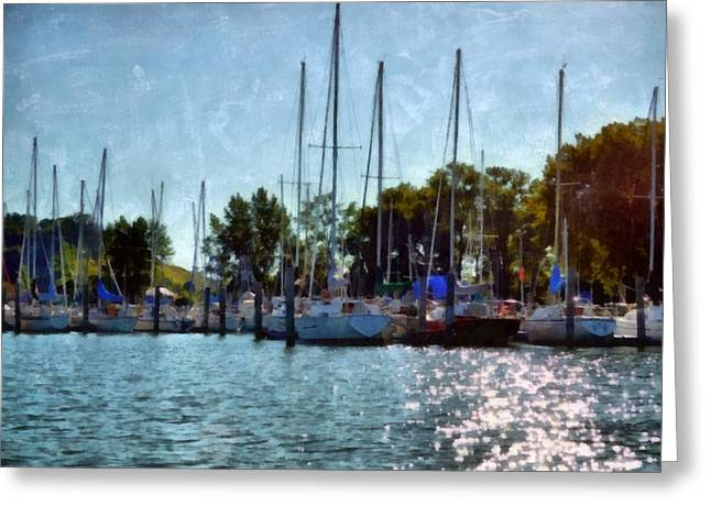 Macatawa Masts Greeting Card by Michelle Calkins