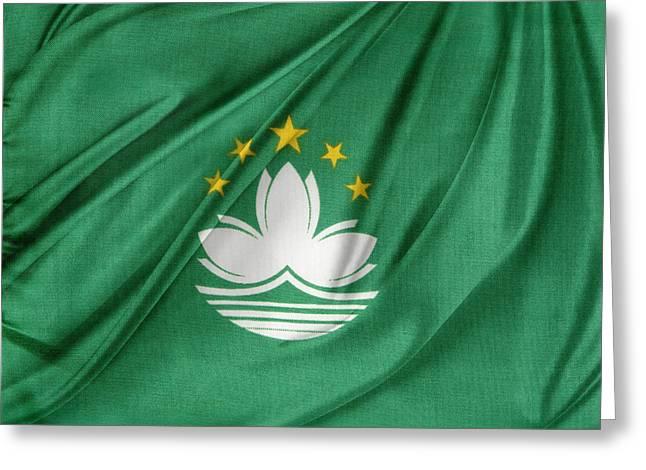 White Cloth Greeting Cards - Macau flag Greeting Card by Les Cunliffe