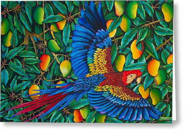 Print Tapestries - Textiles Greeting Cards - Macaw in Mango tree Greeting Card by Daniel Jean-Baptiste