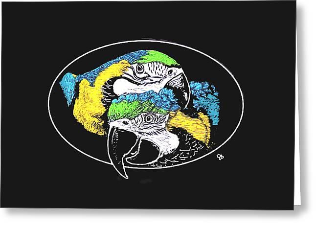 Jeanie Greeting Cards - Macaw Pair Greeting Card by Jeanie Beline