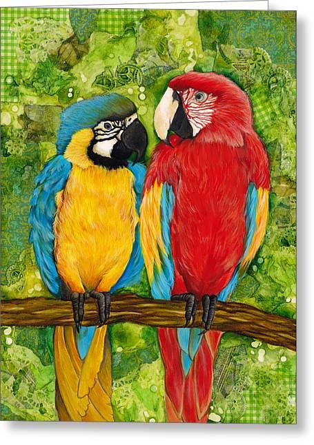 Amazon Greeting Card Greeting Cards - Macaws Greeting Card by Darlene Fletcher