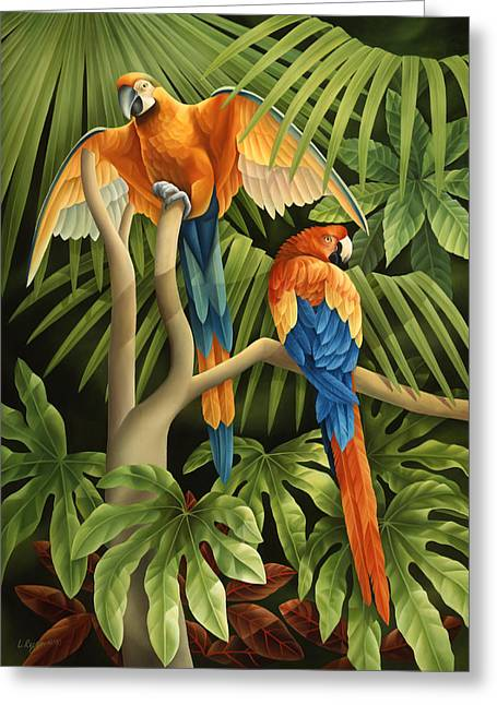 Rainforest Greeting Cards - Macaws Pair Greeting Card by Laura Regan