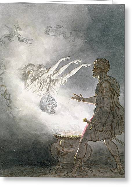 Eerie Greeting Cards - Macbeth And The Apparition Of The Armed Head, Act Iv, Scene I, From Macbeth, By William Shakespeare Greeting Card by William Marshall Craig