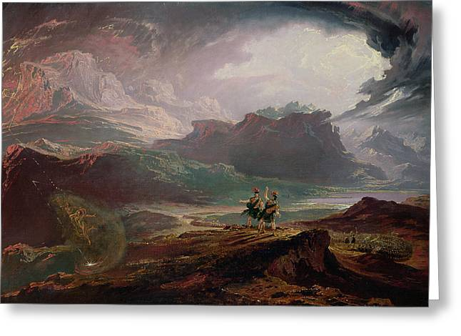Lightning Landscapes Greeting Cards - Macbeth, C.1820 Oil On Canvas Greeting Card by John Martin