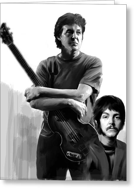 Paul Mccartney Drawings Greeting Cards - Macca II Paul McCartney Greeting Card by Iconic Images Art Gallery David Pucciarelli