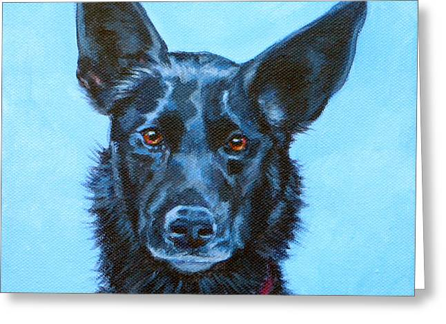 Kelpie Paintings Greeting Cards - Macchiato Greeting Card by Deborah Cullen