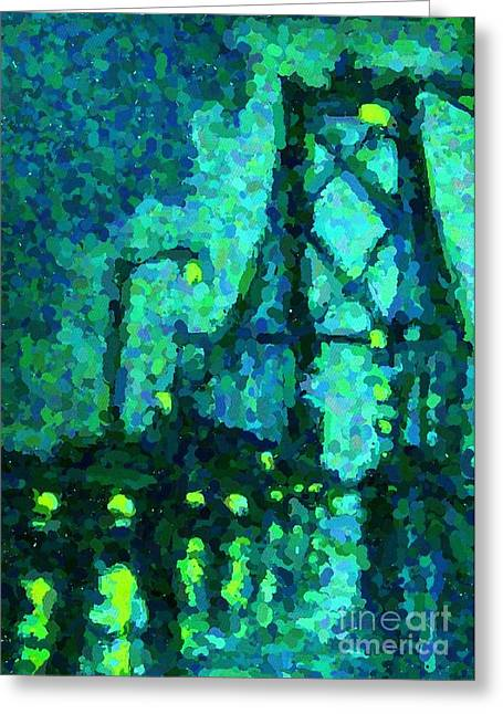 Johnmaloneartist.com Greeting Cards - MacDonald Bridge on Rainy Night in Halifax Greeting Card by John Malone