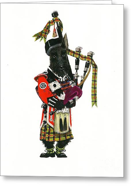 Scottish Terrier Puppy Greeting Cards - MacDuff and the Pipes Greeting Card by Margaryta Yermolayeva