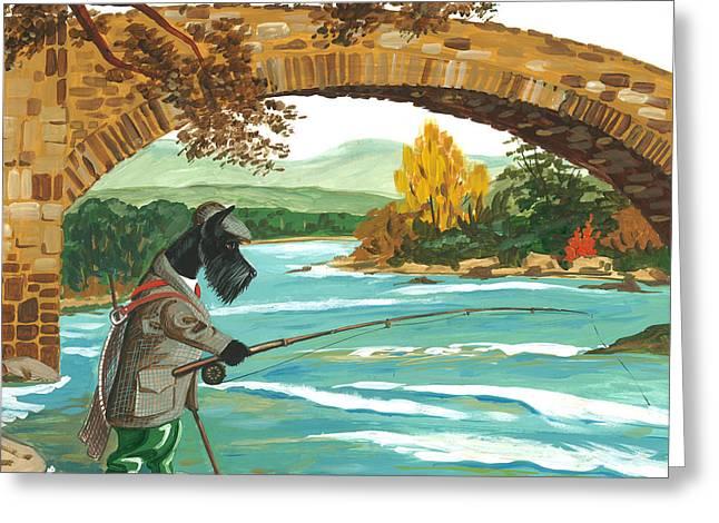 Salmon Paintings Greeting Cards - MacDuff Fishing Greeting Card by Margaryta Yermolayeva