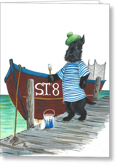 Scotty Art Greeting Cards - MacDuff the Sailor Greeting Card by Margaryta Yermolayeva