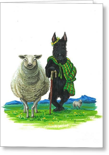 Groomer Art Greeting Cards - MacDuff the Sheepherder Greeting Card by Margaryta Yermolayeva