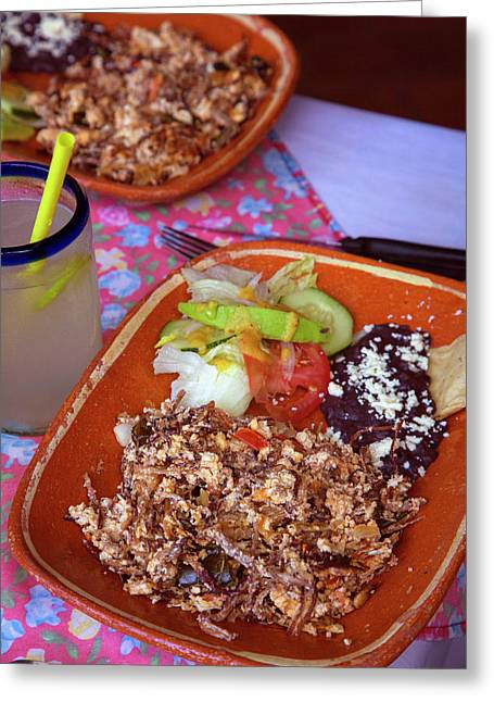 Machaca, Shredded Beef Breakfast, El Greeting Card by Douglas Peebles