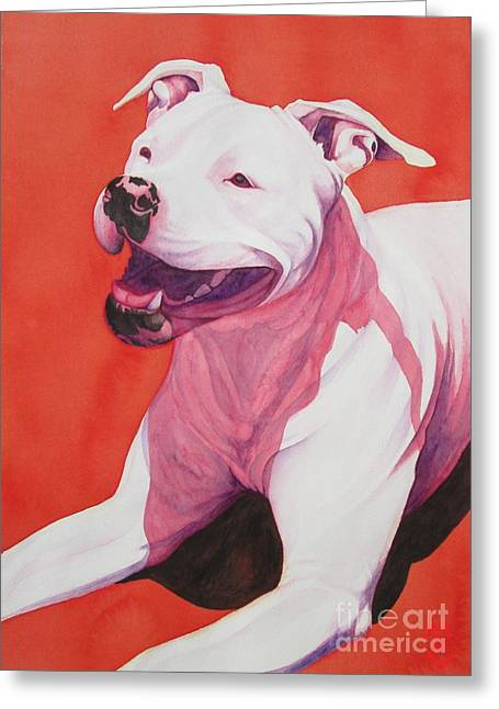 Bully Greeting Cards - MacHappy Greeting Card by Lesley McVicar