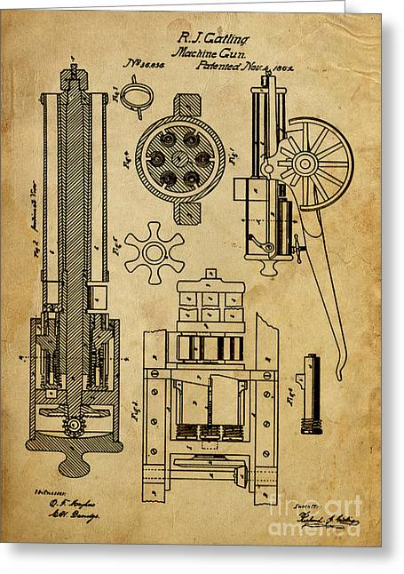 Pistol Drawings Greeting Cards - Machine Gun - Patented on 1862  Greeting Card by Pablo Franchi