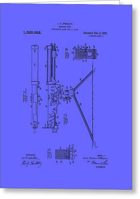 Conferring Greeting Cards - Machine Gun Patent 1920 Greeting Card by Mountain Dreams
