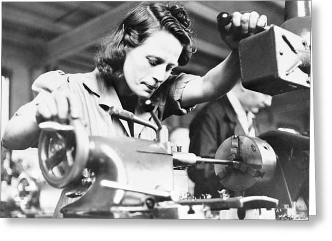 Manufacturing Greeting Cards - Machine gun production, World War II Greeting Card by Science Photo Library