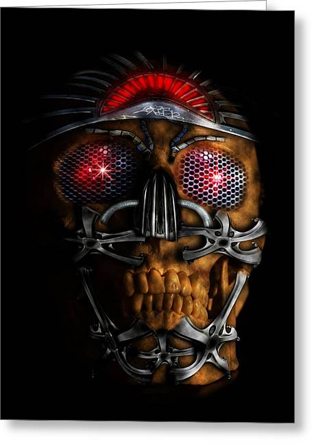 Future Tech Digital Art Greeting Cards - Machine head Greeting Card by Nathan Wright