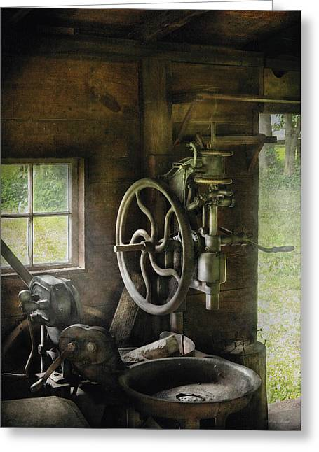 Machine Shop - An Old Drill Press Greeting Card by Mike Savad