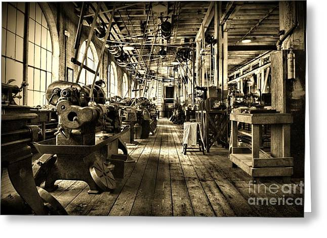 Machine Shop In Sepia Greeting Card by Paul Ward