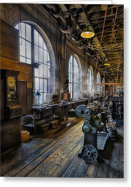 Edison Greeting Cards - Machine shop Greeting Card by Susan Candelario