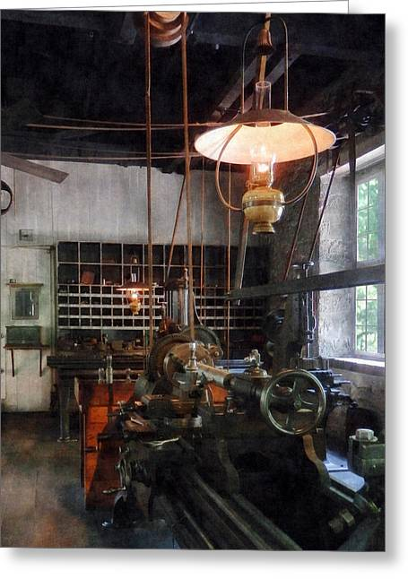 Steam Punk Greeting Cards - Machine Shop With Lantern Greeting Card by Susan Savad
