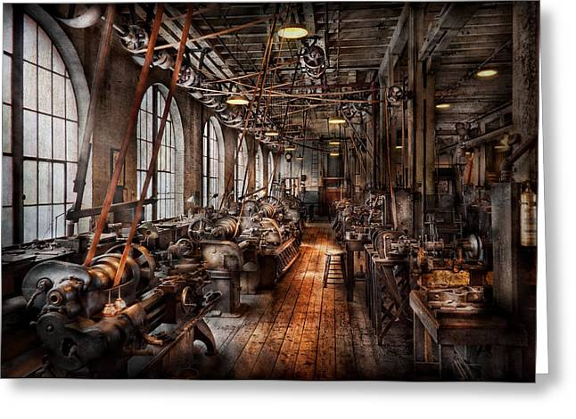Old Greeting Cards - Machinist - A fully functioning machine shop  Greeting Card by Mike Savad
